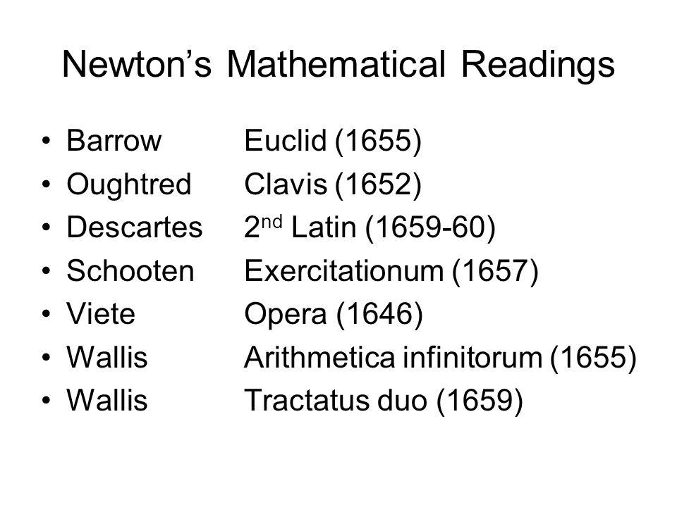 Newton's Mathematical Readings BarrowEuclid (1655) OughtredClavis (1652) Descartes2 nd Latin (1659-60) SchootenExercitationum (1657) VieteOpera (1646) WallisArithmetica infinitorum (1655) WallisTractatus duo (1659)