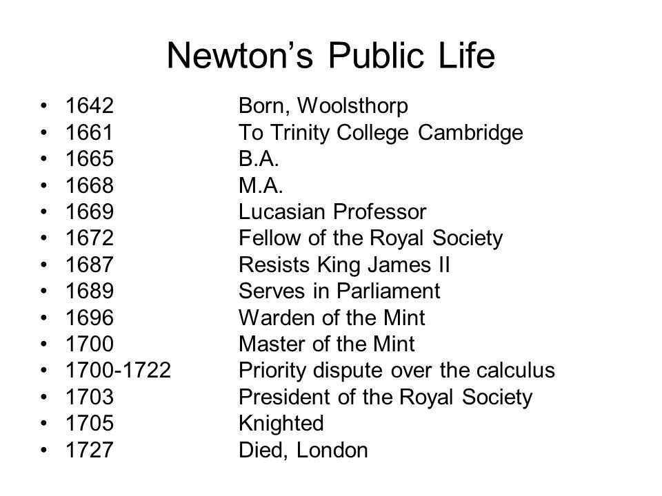 Newton's Public Life 1642Born, Woolsthorp 1661To Trinity College Cambridge 1665B.A.