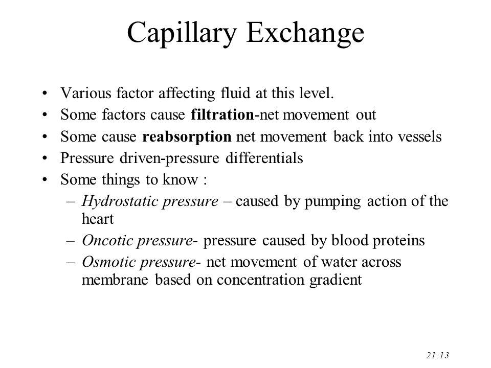 21-13 Capillary Exchange Various factor affecting fluid at this level. Some factors cause filtration-net movement out Some cause reabsorption net move