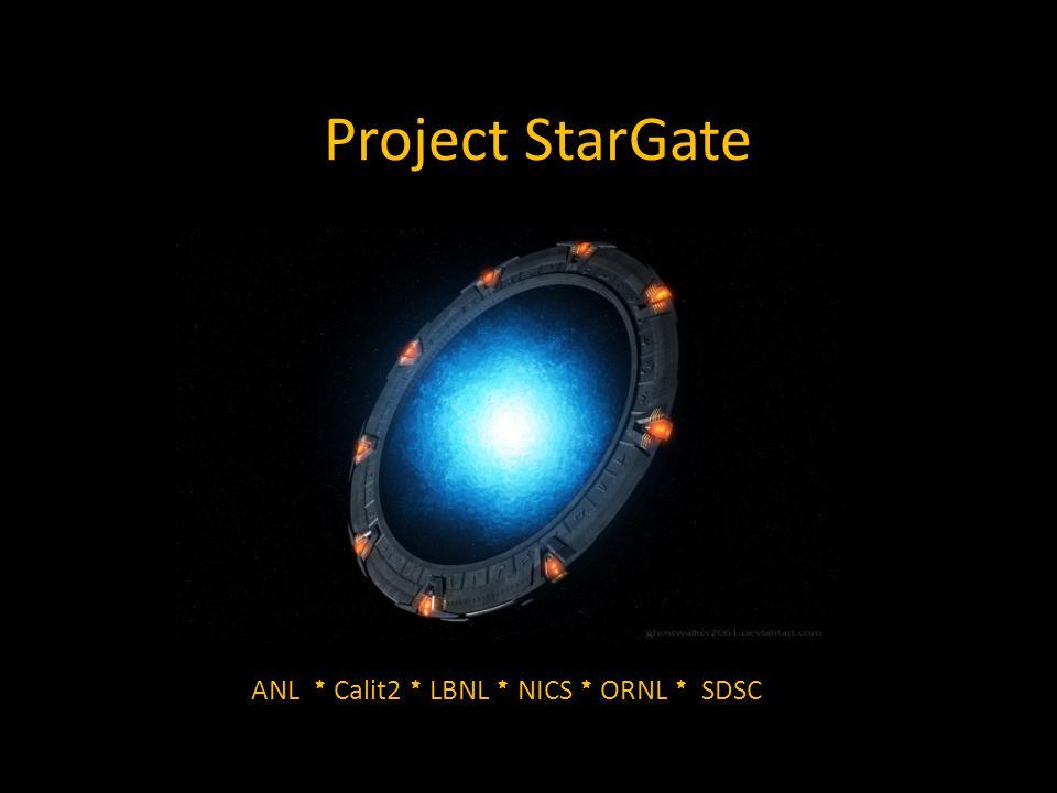 Project StarGate ANL * Calit2 * LBNL * NICS * ORNL * SDSC