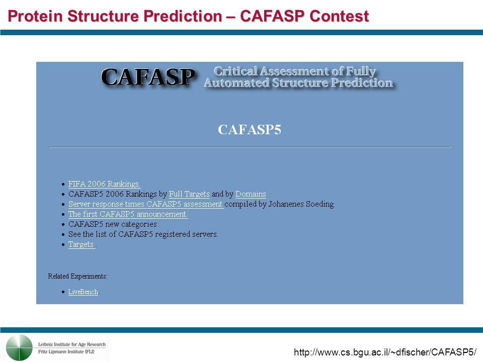 Protein Structure Prediction – CAFASP Contest http://www.cs.bgu.ac.il/~dfischer/CAFASP5/
