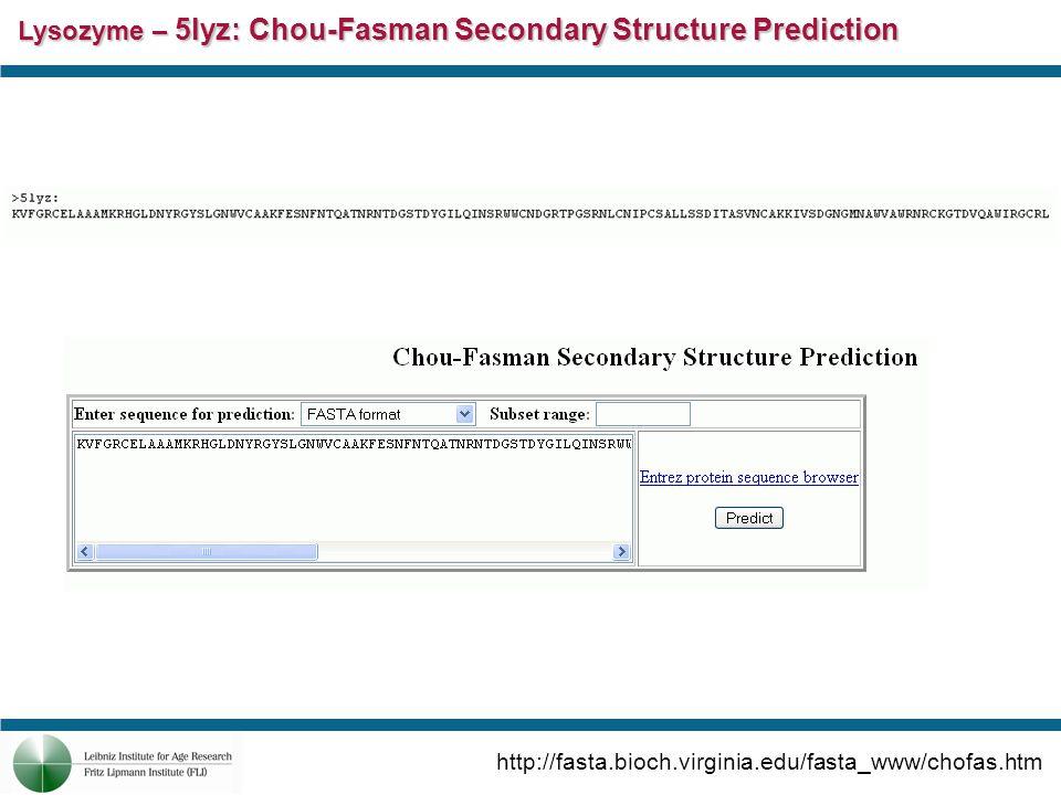 Lysozyme – 5lyz: Chou-Fasman Secondary Structure Prediction http://fasta.bioch.virginia.edu/fasta_www/chofas.htm