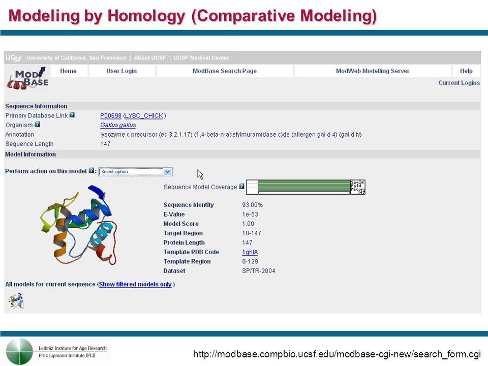 Modeling by Homology (Comparative Modeling) http://modbase.compbio.ucsf.edu/modbase-cgi-new/search_form.cgi