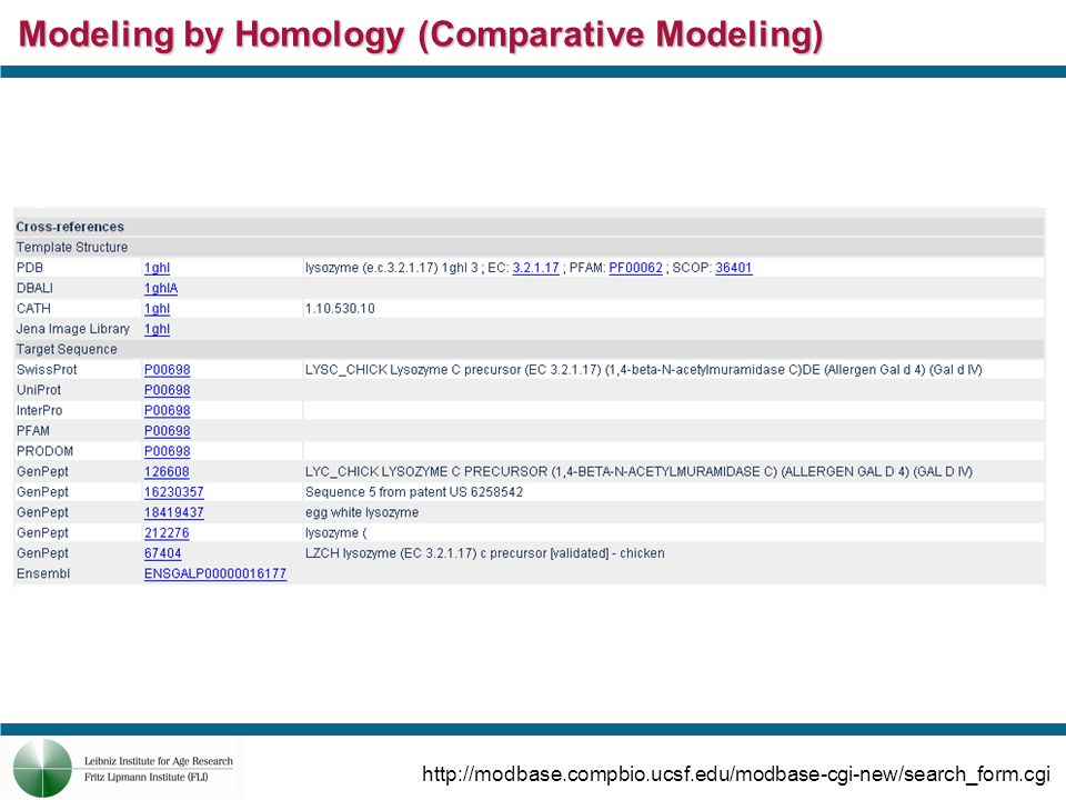Modeling by Homology (Comparative Modeling) http://swissmodel.expasy.org/