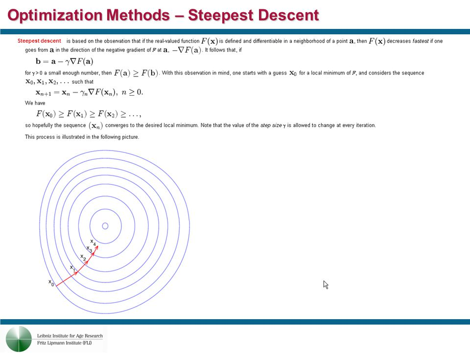 Optimization Methods – Steepest Descent Steepest descent
