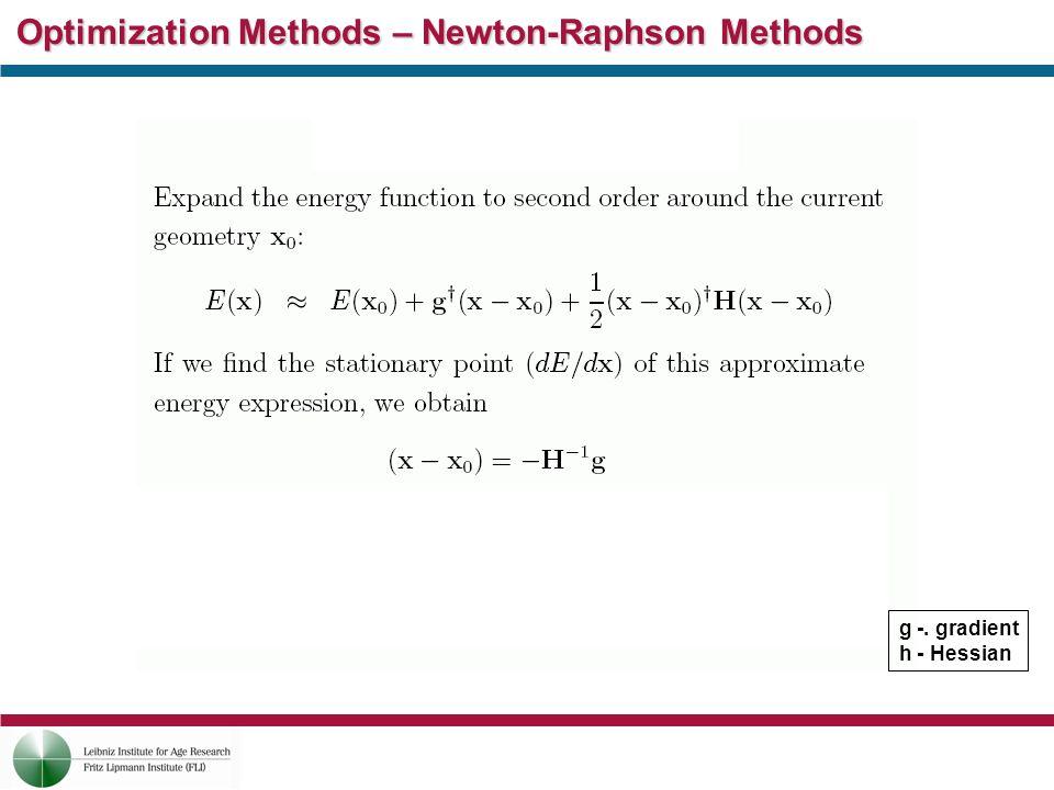 Optimization Methods – Newton-Raphson Methods g -. gradient h - Hessian