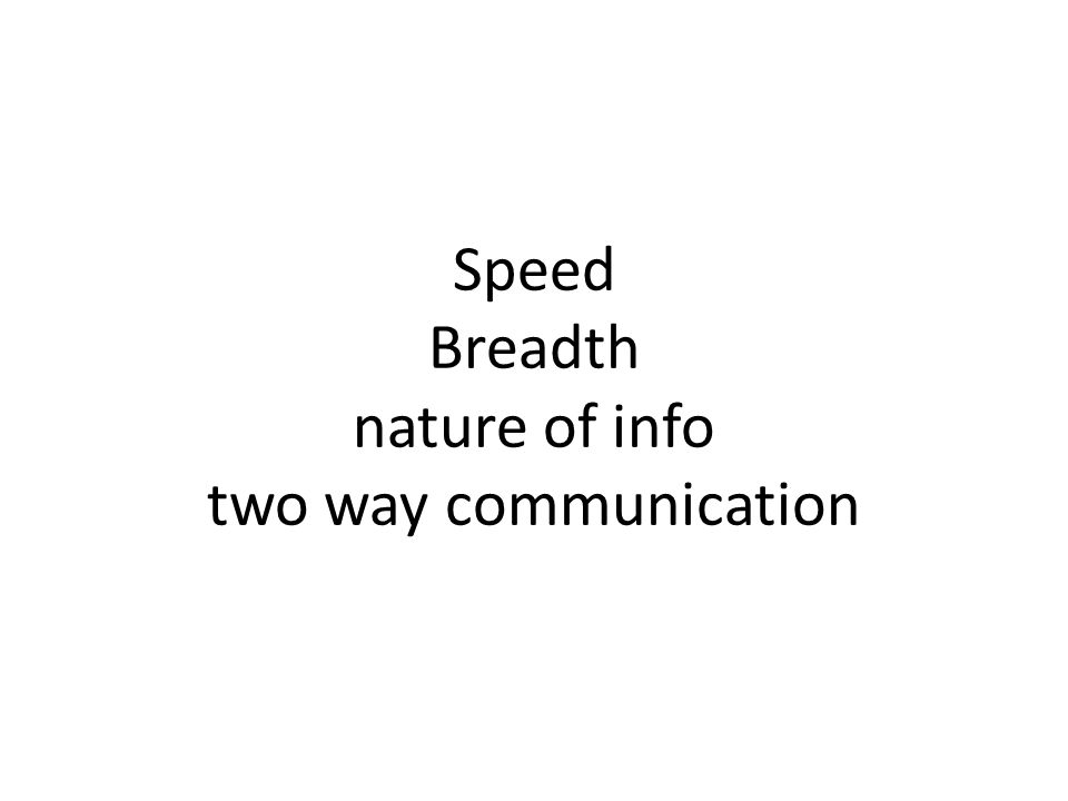 Speed Breadth nature of info two way communication