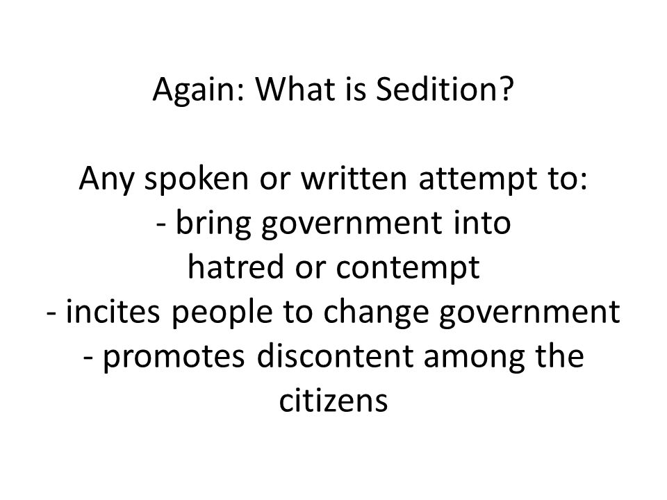 Again: What is Sedition.