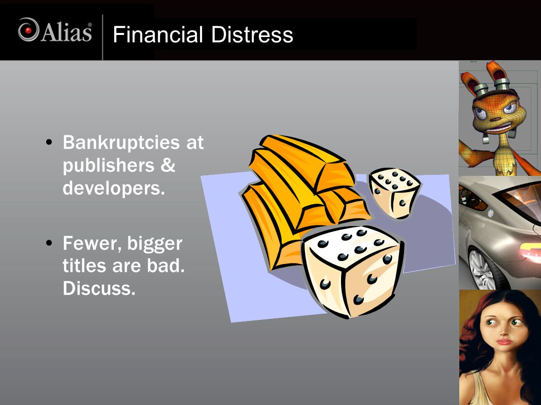Financial Distress Bankruptcies at publishers & developers. Fewer, bigger titles are bad. Discuss.