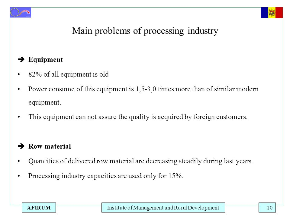 AFIRUMInstitute of Management and Rural Development10 Main problems of processing industry  Equipment 82% of all equipment is old Power consume of th