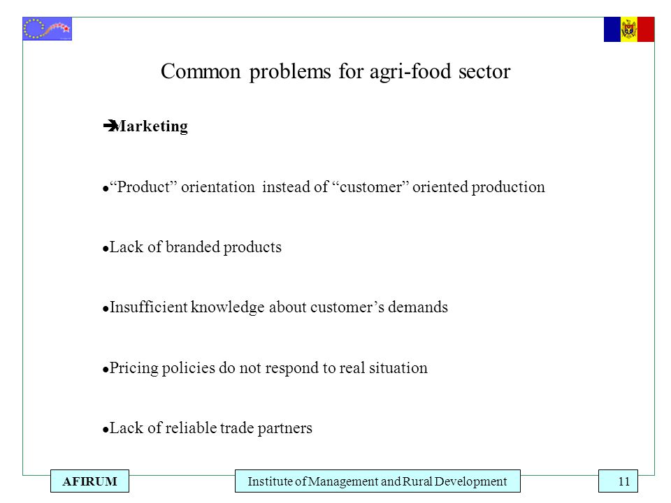 "AFIRUMInstitute of Management and Rural Development11 Common problems for agri-food sector  Marketing l ""Product"" orientation instead of ""customer"" o"