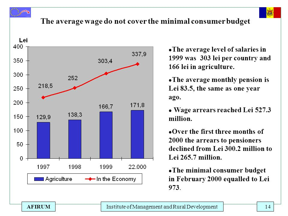 AFIRUMInstitute of Management and Rural Development14 The average wage do not cover the minimal consumer budget l The average level of salaries in 1999 was 303 lei per country and 166 lei in agriculture.
