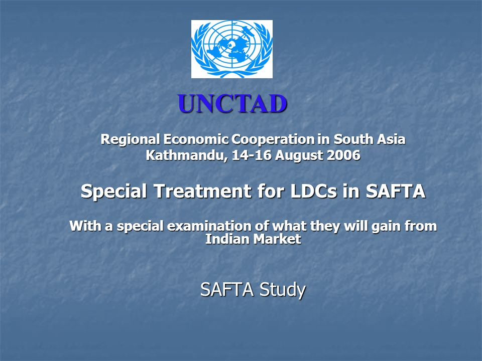Background - Salient Features of 2006 LDC Report of UNCTAD UNCTAD's 2006 LDC Report Developing Productive Capacities UNCTAD's 2006 LDC Report Developing Productive Capacities Only 7 LDCs have experienced steadily sustained growth – Bangladesh, Bhutan, Burkina Faso, Cape Verde, the Lao People's Democratic Republic, Lesotho and Nepal.