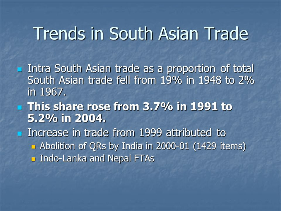 Trends in SAARC LDCs Trade with India In the early 90s Agri products more than 50% of LDCs total exports to India.