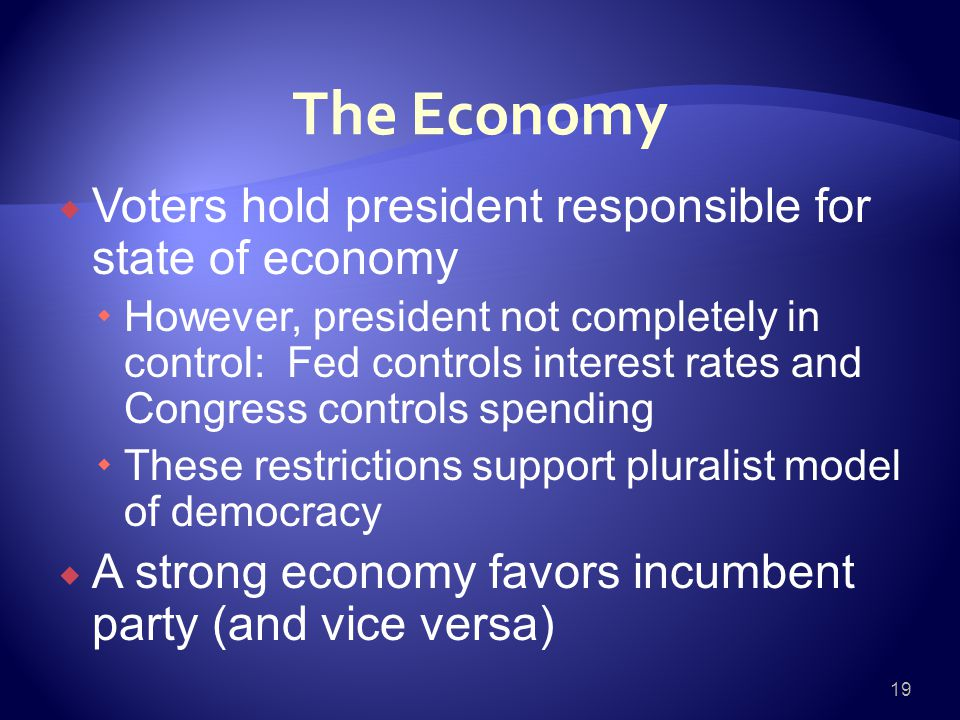 The Economy  Voters hold president responsible for state of economy  However, president not completely in control: Fed controls interest rates and Congress controls spending  These restrictions support pluralist model of democracy  A strong economy favors incumbent party (and vice versa) 19