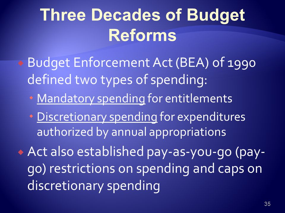 Three Decades of Budget Reforms  Budget Enforcement Act (BEA) of 1990 defined two types of spending:  Mandatory spending for entitlements  Discretionary spending for expenditures authorized by annual appropriations  Act also established pay-as-you-go (pay- go) restrictions on spending and caps on discretionary spending 35