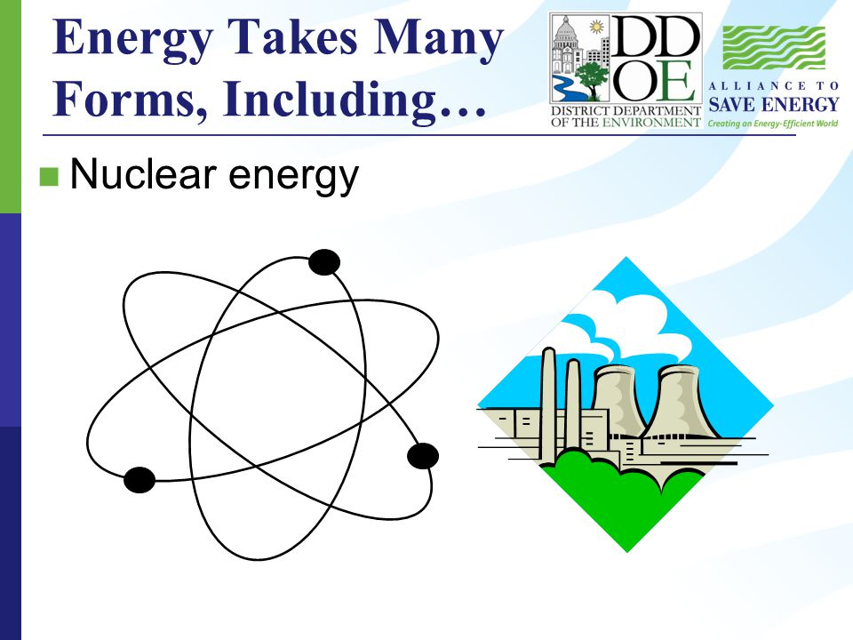 Energy Takes Many Forms, Including… Nuclear energy
