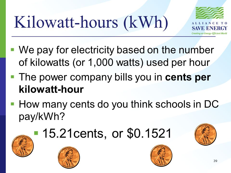 Kilowatt-hours (kWh)  We pay for electricity based on the number of kilowatts (or 1,000 watts) used per hour  The power company bills you in cents per kilowatt-hour  How many cents do you think schools in DC pay/kWh.