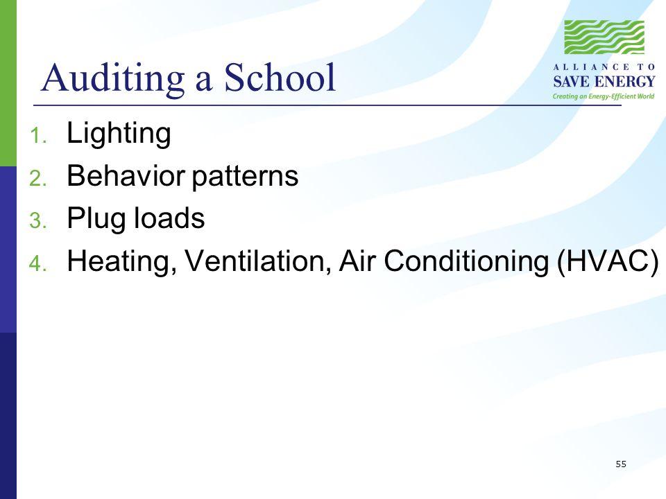 Auditing a School 1. Lighting 2. Behavior patterns 3.