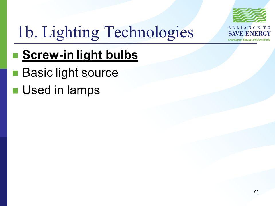 1b. Lighting Technologies Screw-in light bulbs Basic light source Used in lamps 62