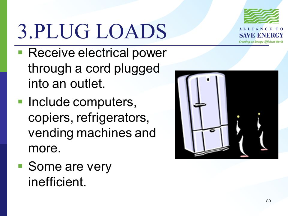 3.PLUG LOADS  Receive electrical power through a cord plugged into an outlet.
