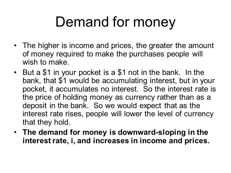 Equilibrium in the money market The supply of money does not depend on the interest rate, so it is vertical.