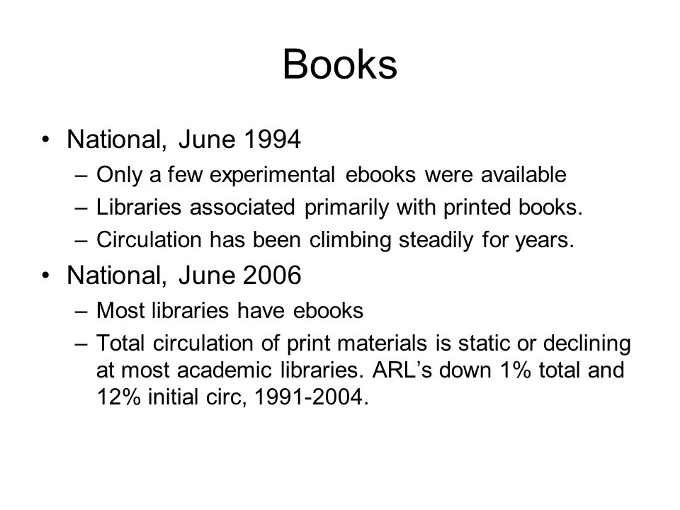 Books National, June 1994 –Only a few experimental ebooks were available –Libraries associated primarily with printed books.