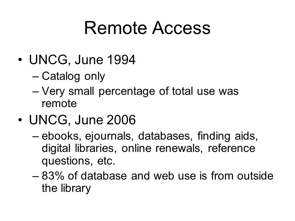 Remote Access UNCG, June 1994 –Catalog only –Very small percentage of total use was remote UNCG, June 2006 –ebooks, ejournals, databases, finding aids, digital libraries, online renewals, reference questions, etc.