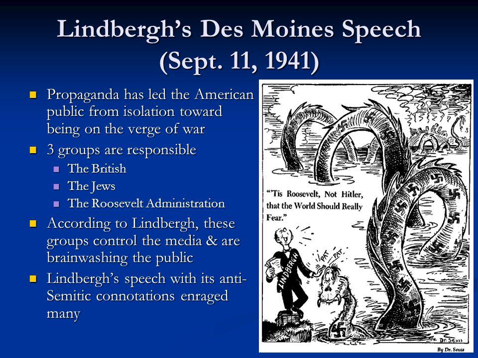 Lindbergh's Des Moines Speech (Sept.