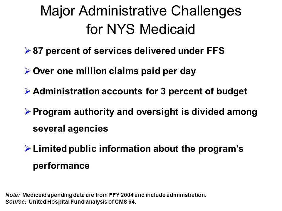Major Administrative Challenges for NYS Medicaid  87 percent of services delivered under FFS  Over one million claims paid per day  Administration accounts for 3 percent of budget  Program authority and oversight is divided among several agencies  Limited public information about the program's performance Note: Medicaid spending data are from FFY 2004 and include administration.