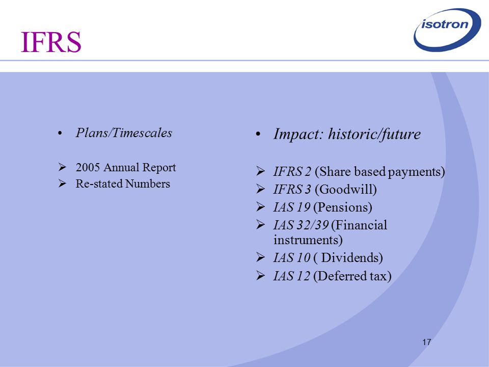 17 IFRS Plans/Timescales  2005 Annual Report  Re-stated Numbers Impact: historic/future  IFRS 2 (Share based payments)  IFRS 3 (Goodwill)  IAS 19 (Pensions)  IAS 32/39 (Financial instruments)  IAS 10 ( Dividends)  IAS 12 (Deferred tax)