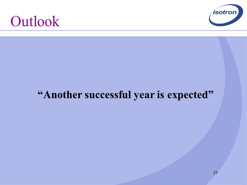 21 Outlook Another successful year is expected