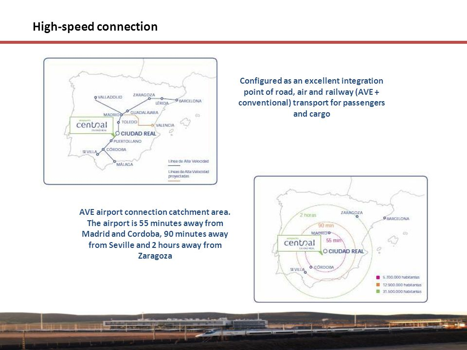 High-speed connection Configured as an excellent integration point of road, air and railway (AVE + conventional) transport for passengers and cargo AVE airport connection catchment area.