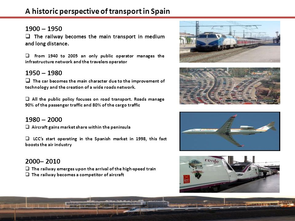 A historic perspective of transport in Spain 1900 – 1950  The railway becomes the main transport in medium and long distance.