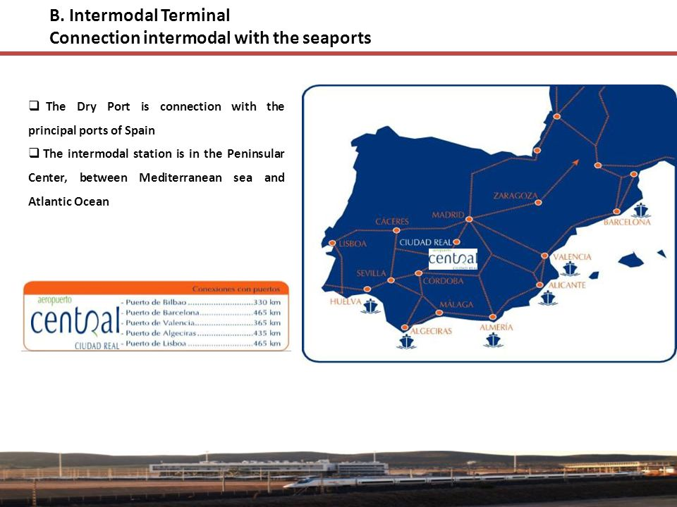 B. Intermodal Terminal Connection intermodal with the seaports  The Dry Port is connection with the principal ports of Spain  The intermodal station
