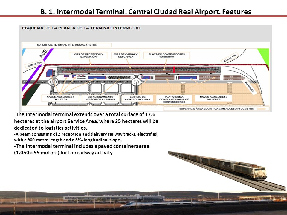 B. 1. Intermodal Terminal. Central Ciudad Real Airport. Features -The Intermodal terminal extends over a total surface of 17.6 hectares at the airport