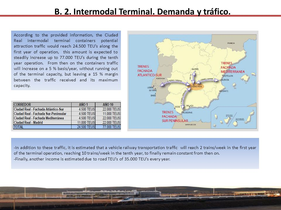 B. 2. Intermodal Terminal. Demanda y tráfico. According to the provided information, the Ciudad Real intermodal terminal containers potential attracti