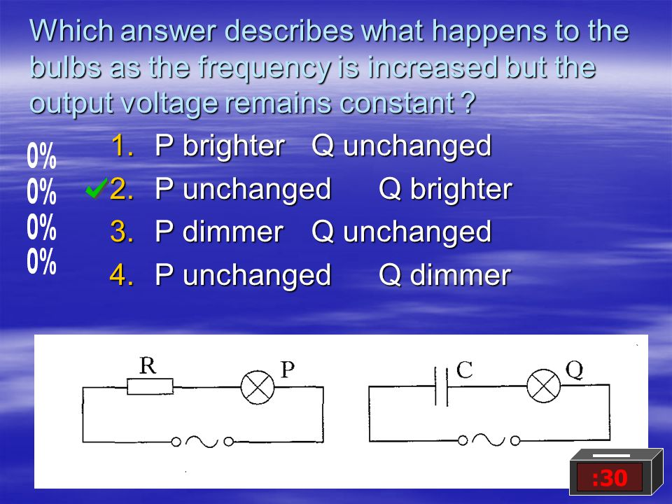 Which answer describes what happens to the bulbs as the frequency is increased but the output voltage remains constant .