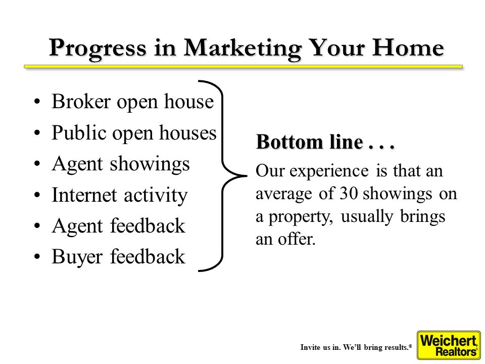 Invite us in. We'll bring results. ® Progress in Marketing Your Home Bottom line...