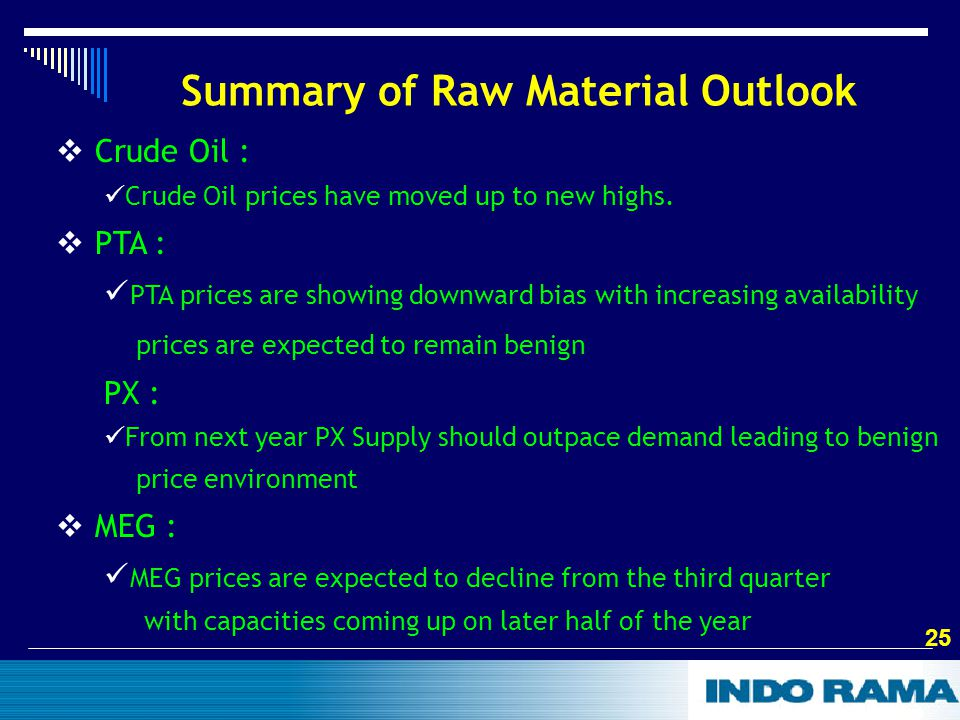 25 Summary of Raw Material Outlook  Crude Oil : Crude Oil prices have moved up to new highs.