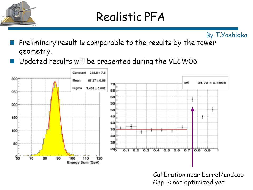 Realistic PFA Preliminary result is comparable to the results by the tower geometry.