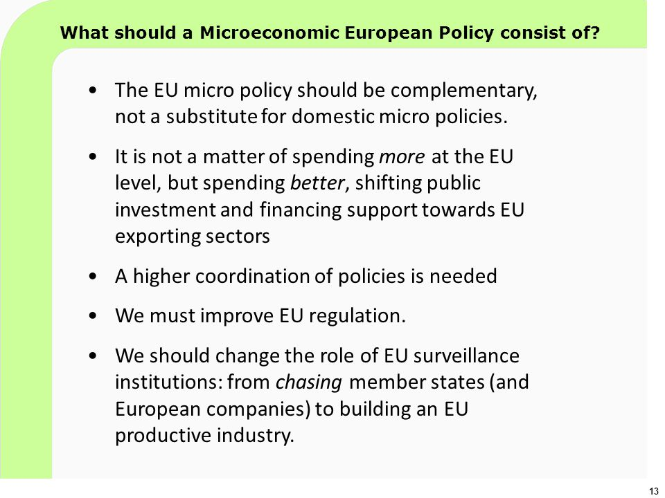 13 What should a Microeconomic European Policy consist of? The EU micro policy should be complementary, not a substitute for domestic micro policies.