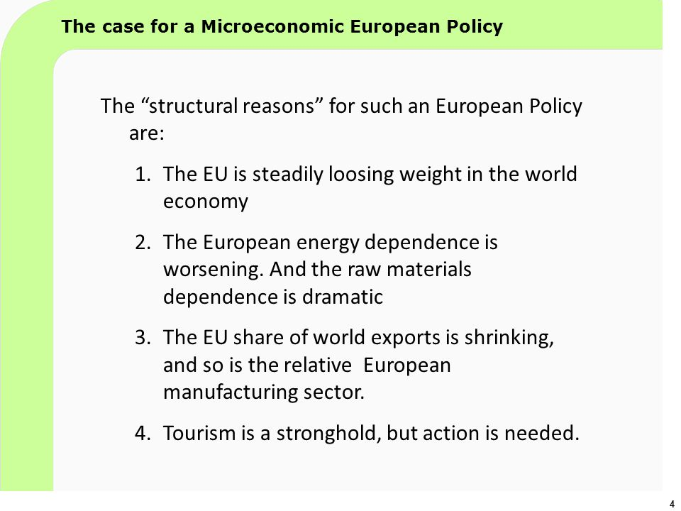 "4 The case for a Microeconomic European Policy The ""structural reasons"" for such an European Policy are: 1.The EU is steadily loosing weight in the wo"