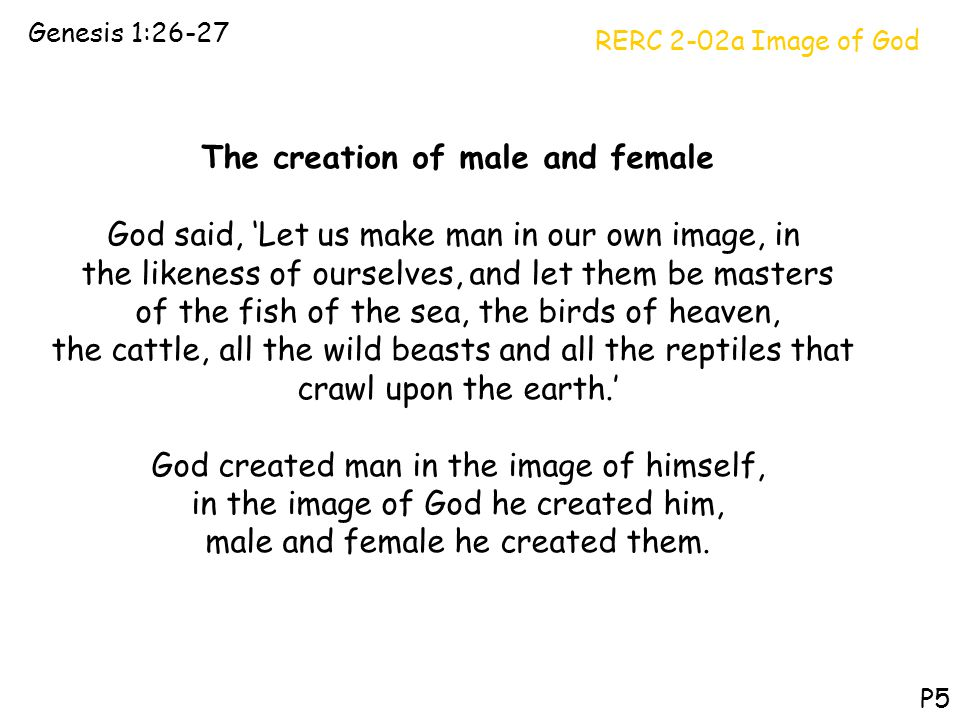 RERC 2-02a Image of God Genesis 1:26-27 P5 The creation of male and female God said, 'Let us make man in our own image, in the likeness of ourselves,