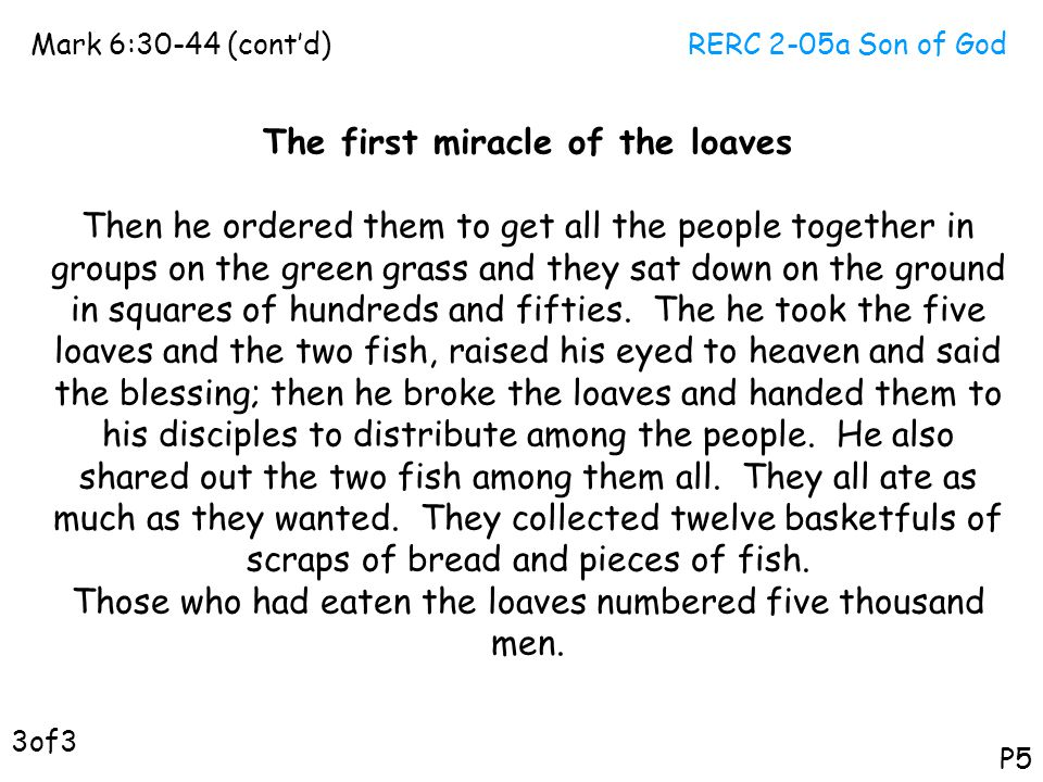 RERC 2-05a Son of GodMark 6:30-44 (cont'd) P5 The first miracle of the loaves Then he ordered them to get all the people together in groups on the gre