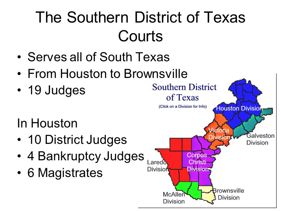 The Southern District of Texas Courts Serves all of South Texas From Houston to Brownsville 19 Judges In Houston 10 District Judges 4 Bankruptcy Judge