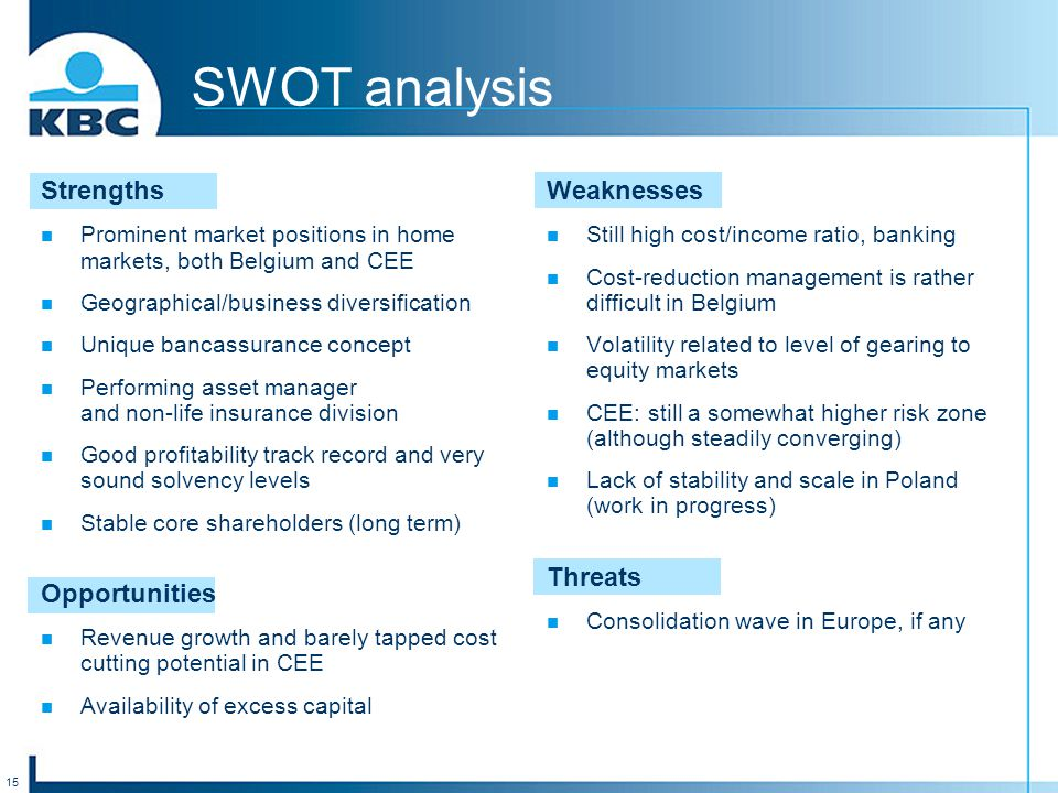 15 SWOT analysis Strengths Prominent market positions in home markets, both Belgium and CEE Geographical/business diversification Unique bancassurance