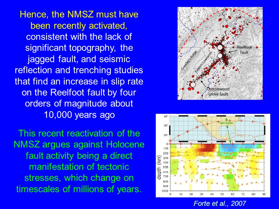 Hence, the NMSZ must have been recently activated, consistent with the lack of significant topography, the jagged fault, and seismic reflection and trenching studies that find an increase in slip rate on the Reelfoot fault by four orders of magnitude about 10,000 years ago This recent reactivation of the NMSZ argues against Holocene fault activity being a direct manifestation of tectonic stresses, which change on timescales of millions of years.