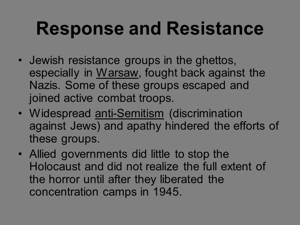 The Final Solution The Nazis wanted the Jews to leave on their own account, but that did not happen fast enough. So they began to implement systematic