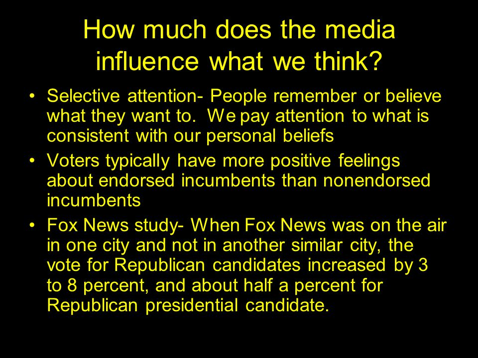 How much does the media influence what we think.